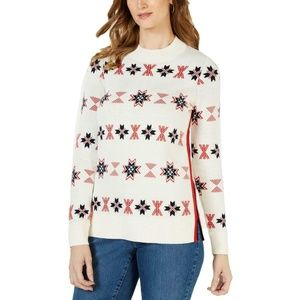 Charter Club Women's Ivory Patterned Mock Neck